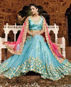 Buy Delightful Blue Lehenga Choli online at  https://www.a1designerwear.com/delightful-blue-lehenga-choli-5  Price: $182.75 USD