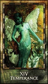 Your animal side (tiger/lion) and your innocence (lamb) must be kept in balance.  Temperance - Archeon Tarot by Timothy Lantz