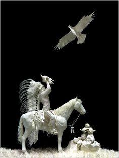 Native American Paper Sculpture by Allen & Patty Eckman