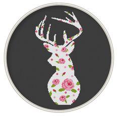 Deer cross stitch pattern Flower deer cross by MagicCrossStitch