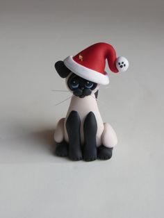 Polymer Clay Christmas Ornaments | Christmas Ornament Polymer Clay Siamese Cat by HeartOfClayGirl