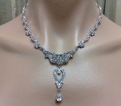 Swarovski Crystal Bridal Necklace Glamour Wedding by YJDesign, $78.00
