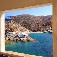 Wonderful and peaceful Mali beach , at Tinos island ( Τήνος ) ❤️. White cycladic houses and perfect blue sea into a beautiful frame .