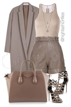 """""""Taupe"""" by highfashionfiles ❤ liked on Polyvore featuring Organic by John Patrick, Rick Owens, Carven, Givenchy, Giuseppe Zanotti, Vince Camuto and Phyllis + Rosie"""