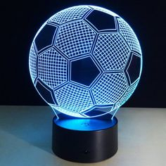 Promotion LED Color Changing Night Light Soccer Football Lamp Mood Light Party Christmas Home Decoration Gift for Dad Soccer Bedroom, Football Bedroom, Soccer Room Decor, Lanterns Decor, Light Decorations, Lampe Led, Led Lamp, Decor Eventos, Mood Lamps