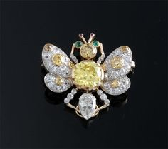 Antique Yellow and White Diamond Butterfly Pin