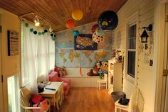 map wall in Cate's cozy reading room!