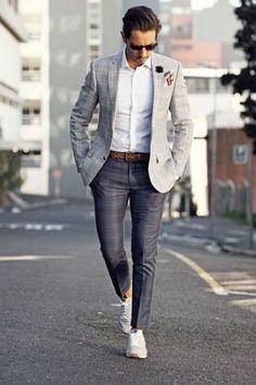Esporte Fino. Macho Moda - Blog de Moda Masculina: Esporte Fino Masculino, Dicas para Inspirar! Moda Masculina, Roupa de Homem, Moda para Homens, Sneaker Esportivo, Blazer Cinza, Camisa Branca, Calça Social Slim