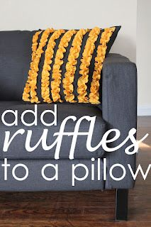 Yellow Ruffle Pillow DIY. Need to add this to our couch pillows!