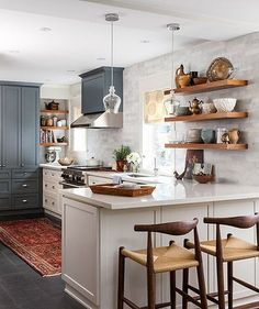 "Happy Wednesday! I love the mood of this kitchen from /houseandhomemag/. I can hardly believe it but next month a contractor will begin demo on our little galley kitchen! We spent *forever* weighing all of our choices (no surprise there ) but I'm so excited to know that we will finally have ✨ a new kitchen ✨before the holidays! I'm sharing the ""kitchen mood"" we are going for and the cabinet color today on the blog."