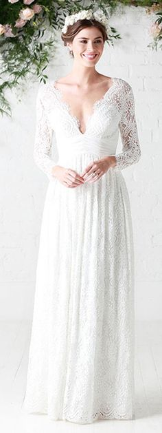 Marvelous Lace V-neck Neckline With Illusion Sleeves A-line Wedding Dresses With Pleats