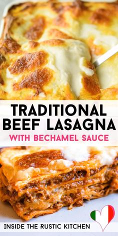 Traditional Beef Lasagna (Classic Recipe) Traditional Italian Lasagna made with a rich beef ragu, lasagna pasta and bechamel sauce. A classic comfort food recipe that the whole family will love. Lasagna With Bechamel Sauce, Lasagna Recipe With Ricotta, Classic Lasagna Recipe, Baked Lasagna, Easy Lasagna Recipe, Lasagne Recipes, Homemade Lasagna, Classic Recipe, Pork