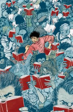from The Unwritten, this painting by Yuko Shimizu has arresting qualities - I love the red books and what's with the demonic looking angel cat right behind him? I might have to read this one...
