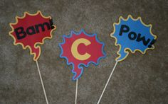 Superhero Photo Booth Props  Set of 3  by CreativeQueenBee on Etsy, $9.95