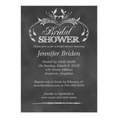 Black And White Chalkboard Modern Bridal Shower Custom Invitations Bridal Shower Chalkboard, Bridal Shower Cards, Bridal Shower Invitations, Bridal Showers, White Bridal Shower, Elegant Bridal Shower, Personalized Invitations, Custom Invitations, Invitation Paper