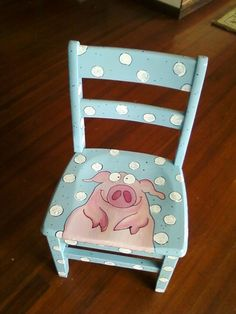 k's pig chair – Hand-Painted Furntiure – Herzlich willkommen Painted Kids Chairs, Painted Rocking Chairs, Whimsical Painted Furniture, Hand Painted Furniture, Funky Furniture, Colorful Furniture, Paint Furniture, Repurposed Furniture, Painted Tables