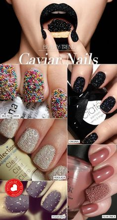 I LOVE these caviar nails; the kind of dusty, pinkish beige nails at the bottom right are my favorite! I like the one caviar accent nail done in the same color is gorgeous! Get Nails, Fancy Nails, Love Nails, How To Do Nails, Hair And Nails, Sparkly Nails, Pink Sparkly, Fabulous Nails, Gorgeous Nails