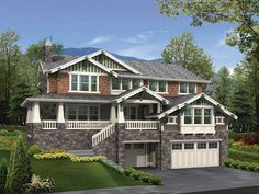 This spacious 4 bedroom Craftsman style home has an open floor plan and covered patios for an airy feel.  Craftsman House Plan # 551247.