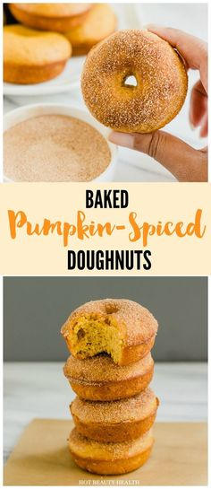 Baked Pumpkin Spice Donuts -- quick and easy recipe that's light, fluffy and full of pumpkin flavor! Perfect for a cozy fall morning or pair with ice cream for a night time dessert. Hot Beauty Health blog