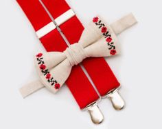 Christmas Gift Toddler Beige Bow Tie And red Suspenders Christmas Boy Outfit Ring Bearer Outfit Boys Bow Ties Wedding Bowtie