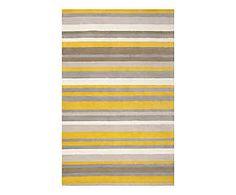 Tapis MADISON SQUARE laine, jaune et gris - 99*160