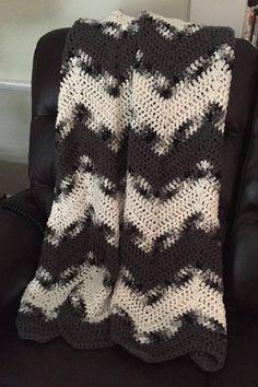 Handmade Crochet Chevron Ripple Chunky Bulky Couch Afghan sofa