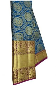 Blue Handloom Kanjeevaram Pure Silk Saree Banarasi Sarees, Pure Silk Sarees, Sarees Online, Damask, Pattern Design, Pure Products, Blue, Stuff To Buy, Damascus