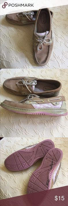 Women's Sperry Top Sider Pink gingham checked sequins. In good condition. Still have a lot more life in them! Very comfortable. Sperry Top-Sider Shoes Flats & Loafers