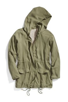 I really like olive green, and want to incorporate it into my wardrobe without feeling drab. An anorak with a draw string waist seems like a good bet.