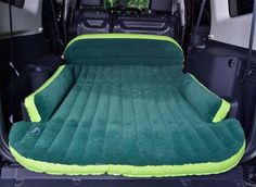 This inflatable mattress is made to fit in the back of your SUV or in the bed of your truck with sides that are designed to fold around the wheel well.