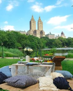 Lovely Park Picnic with view at manhattan, NYC New York Central Park Picnic, Manhattan Nyc, New York, Patio, City, Outdoor Decor, Travel, Home, New York City