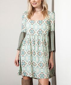 Look what I found on #zulily! Green Geometric A-Line Tunic #zulilyfinds