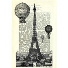 Eiffelturm mit Luftballons Illustration von Madame Memento auf DaWanda.com