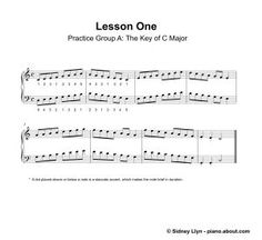Printable Piano Lesson Book: Piano Lesson One