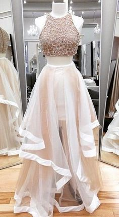 Jewel Neck Ivory Two Piece Prom Dress, Sparkling Beaded Floor Length Tulle Prom Dress, Elegant A-line Crop Top Sleeveless Prom Dress, from Dressesofgirl Girls Evening Dresses, Prom Dresses Two Piece, Hoco Dresses, Tulle Prom Dress, Dance Dresses, Wedding Party Dresses, Pretty Dresses, Homecoming Dresses, Evening Gowns