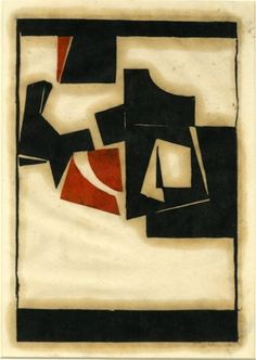 Abstract composition of geometric shapes. 1952  Colour linocut, in black and red, on oriental tissue paper : Adrian Heath