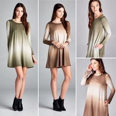 D5365 Loose fit long sleeve round neck dress. Seam pockets at sides. This dress is made with medium weight ombre french terry knit fabric that is soft drapes well and has great stretch.  #cherishusa #cherishapparel #shopcherish #fallfashion #fashionbuyer #boutique #fashion #fashiondiaries #instafashion #instastyle #fashionstyle #ootd #fashionable #fashiongram #fallstyle #clothingbrand #fall2015 #fallfashion #dress #tunicdress #frenchterry #ombre #sidepocket http://bit.ly/cherish-D5365