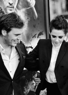 Kristen Stewart and Sam Claflin at the promo for Snow White and the Huntsman