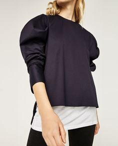 Image 7 of POPLIN SHIRT WITH PLEATED SLEEVES from Zara