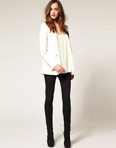 super skinny black jeans + white blazer