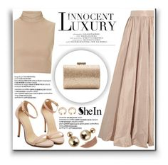 """Sheinside"" by ruska-10 ❤ liked on Polyvore featuring moda, Jenny Packham, Rare London, CENA, Jimmy Choo, Bare Escentuals, gold, Elegant, Sheinside y glam"