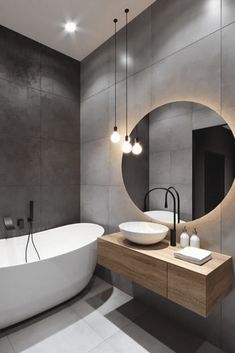 Modern bathroom trends favour light colour schemes, with whites, greys and natural wood tones being the main shades used. Modern bathroom trends favour light colour schemes, with whites, greys and natural wood tones being the main shades used. Black Bathroom Taps, Wood In Bathroom, Black Bathrooms, Modern Small Bathrooms, Dream Bathrooms, Bathroom Furniture, Grey Bathroom Interior, Modern Contemporary Bathrooms, Bathroom Stand