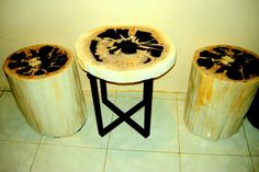 Bali Home Furniture Decor Fossil wood table set