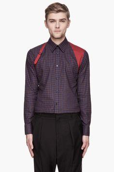 ALEXANDER MCQUEEN Red and blue check harness shirt e44377d785b
