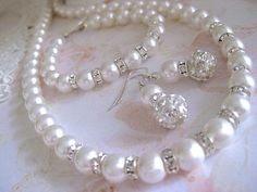 Bridal Pearl Jewelry Set. Pearl Necklace by KathcoJewellery, $127.80