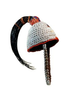 Africa | 'Mukuba' ~ hat ~ from the Lega people of DR Congo | Fiber, buttons and beads.