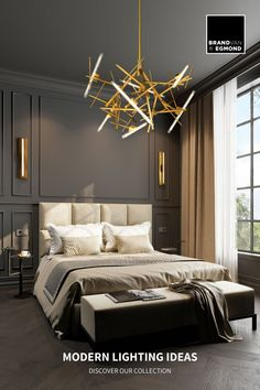 Full of character, at Brand van Egmond we have been realizing unique modern lighting ideas f9or the bedroom. for example this Linea chandelier and wall lights.  Visit our website for more bedroom lighting ideas: www.brandvanegmond.com Modern Classic Bedroom, Modern Classic Interior, Modern Luxury Bedroom, Interior Design Minimalist, Luxury Bedroom Design, Bedroom Bed Design, Home Room Design, Luxurious Bedrooms, Luxury Interior