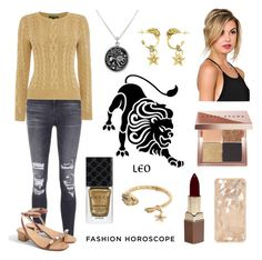 """Leo the Lion"" by roseforbes ❤ liked on Polyvore featuring Gucci, J Brand, Lauren Ralph Lauren, Bling Jewelry, Roberto Cavalli, Bobbi Brown Cosmetics, Fashion Fair, J.Crew, fashionhoroscope and stylehoroscope"