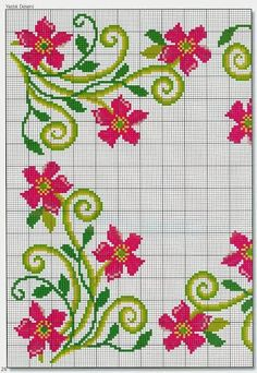 Punto cruz... Ponto cruz... Point de croix... Punto Croce... Cross stitich... Kreuzstitch... ✂✂ Cross Stitch Pillow, Cute Cross Stitch, Cross Stitch Borders, Cross Stitch Rose, Cross Stitch Flowers, Cross Stitch Charts, Cross Stitch Designs, Cross Stitching, Cross Stitch Embroidery