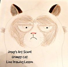 Joseys Art School Episode Grumpy Cat Kids Drawing Lesson Fun and Easy Art projects Drawing Artist, Cat Drawing, Line Drawing, Kids Zoo, Drawing Lessons For Kids, Joy Art, Fun Arts And Crafts, Easy Art Projects, Animal Logo